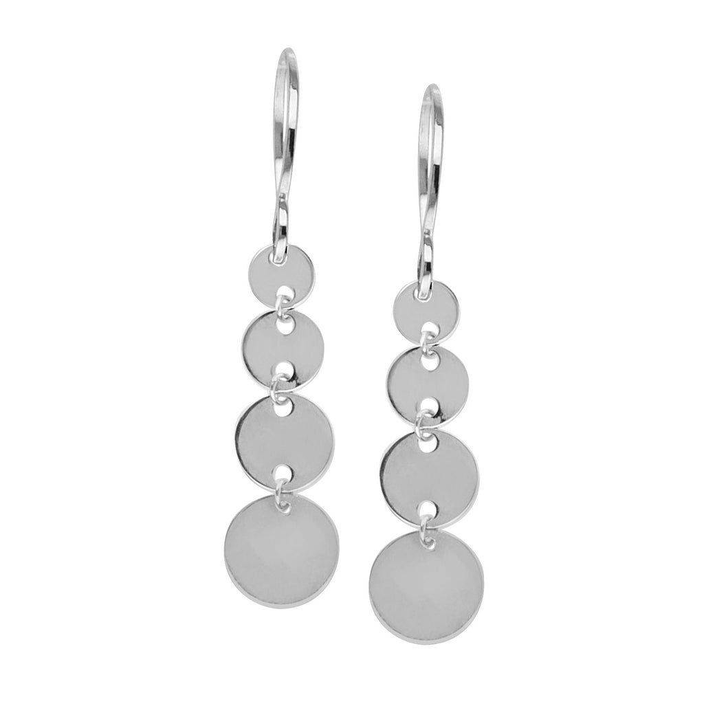 14k White Gold Graduated Size Disk Dangle Earrings with Fish Hook Backs