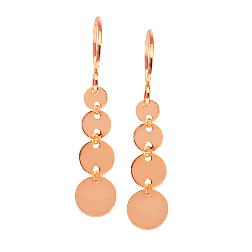 14k Rose Gold Graduated Size Disk Dangle Earrings with Fish Hook Backs