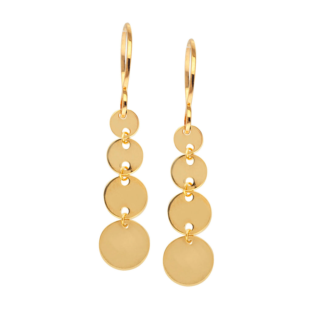 14k Yellow Gold Graduated Size Disk Dangle Earrings with Fish Hook Backs