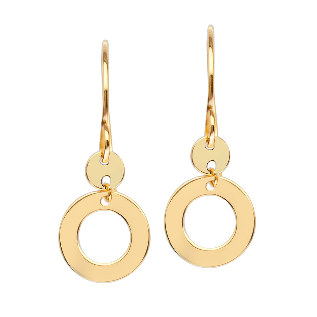 14k Yellow Gold Earrings Disk and Open Circle Drop