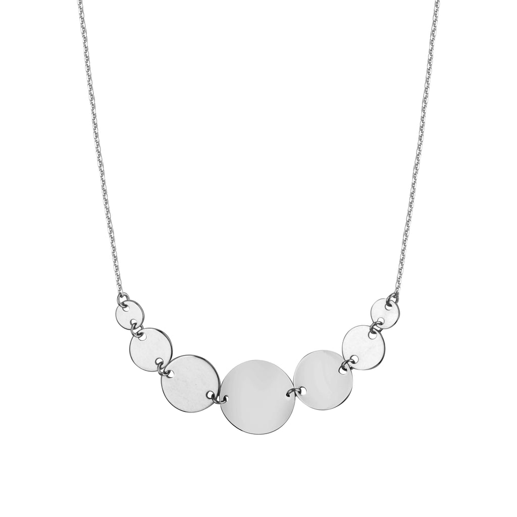 14k White Gold Graduated Linked Disk and Chain Necklace Adjustable Length