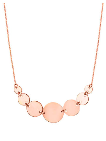 14k Rose Gold Graduated Linked Disk and Chain Necklace Adjustable Length