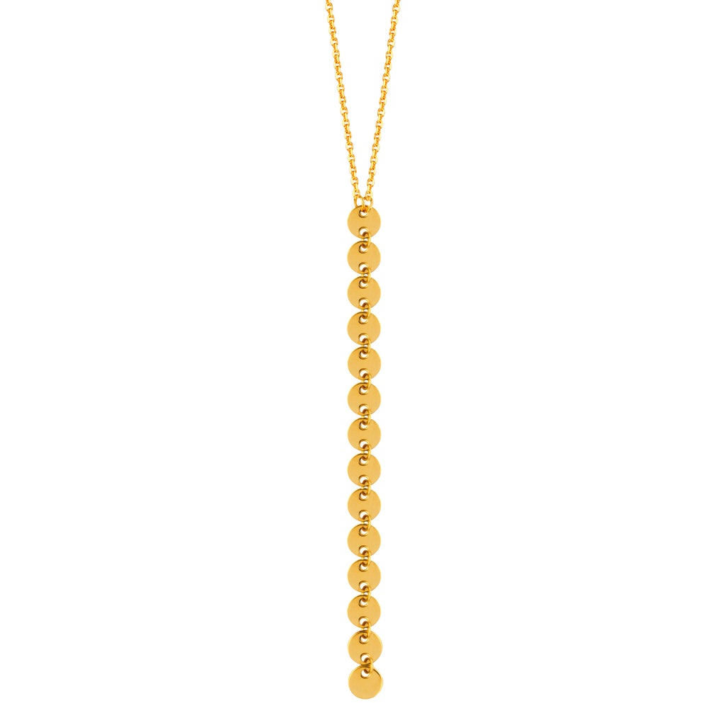 14k Yellow Gold Y-style Lariat Necklace with 4mm Disk Drop Adjustable Length
