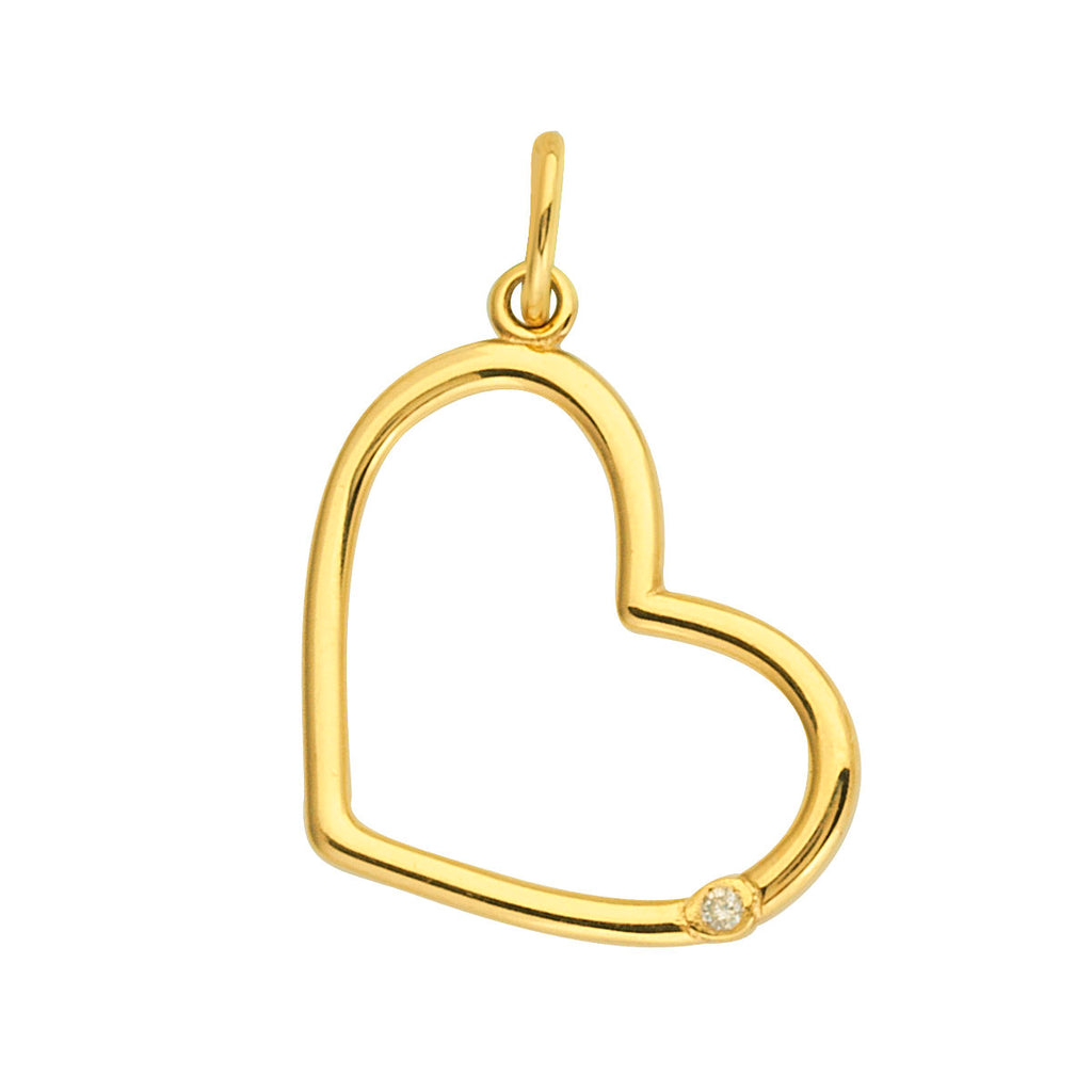 14k Yellow Gold Heart Shape Charm with Genuine Diamond Accent