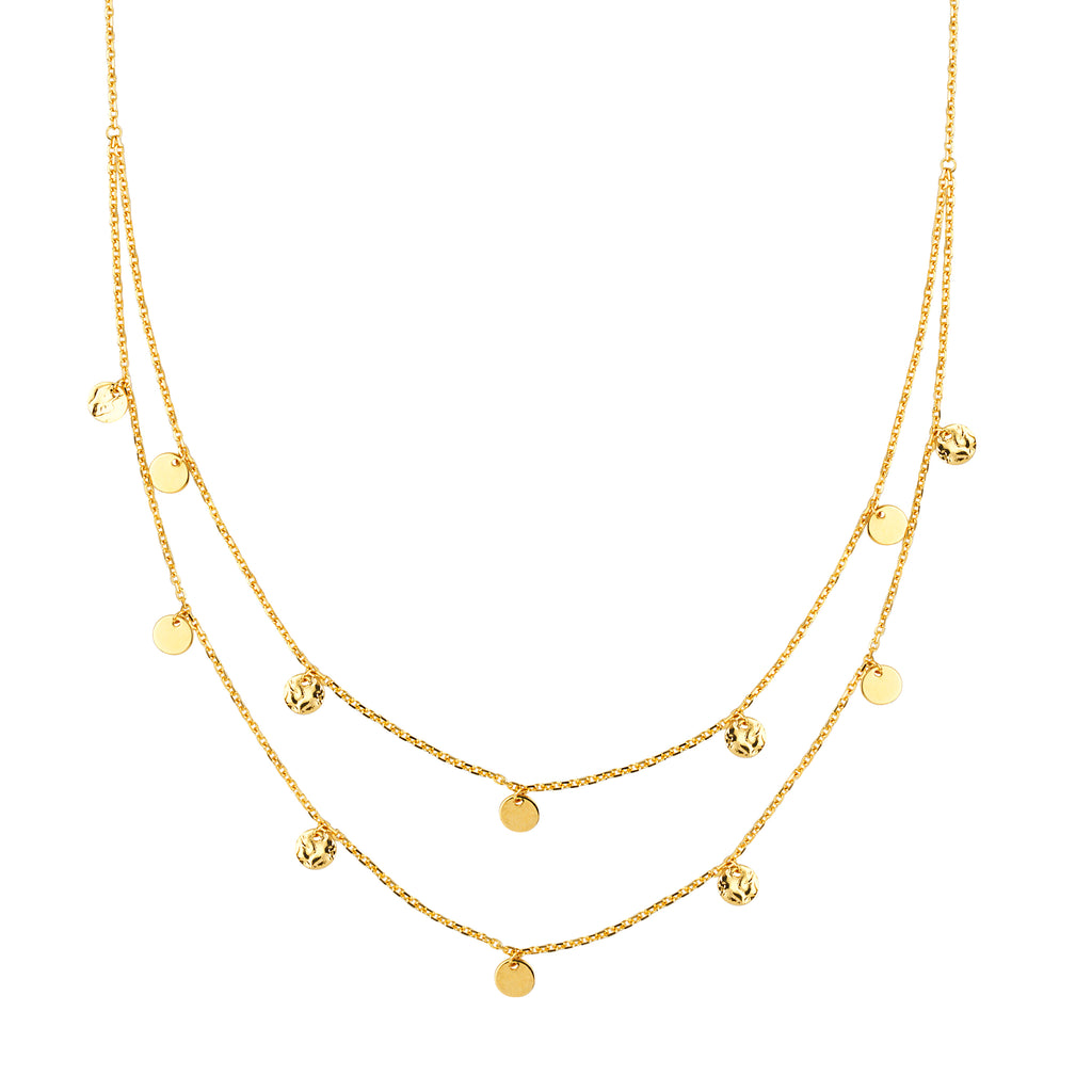 Double Strand Necklace 14k Yellow Gold Bib Style Adjustable Length with Dangles