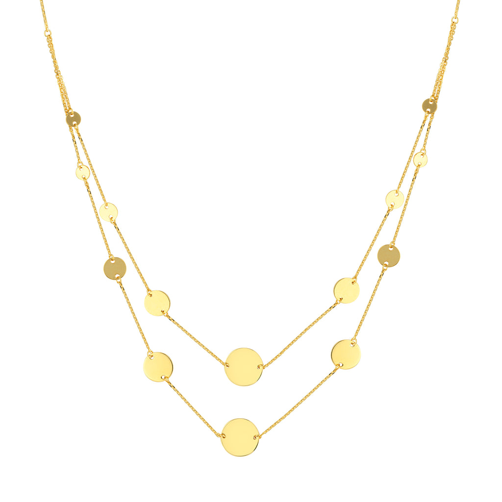 14k Yellow Gold Graduated Disk Layered Necklace Bib Style Adjustable Length