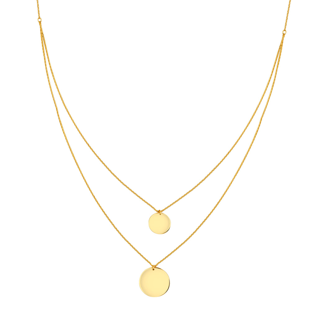 14k Yellow Gold Double Layered Necklace with Two Disk Pendants Adjustable Length