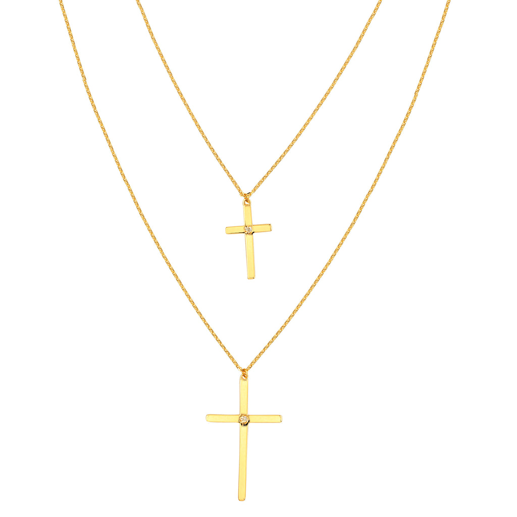 14k Yellow Gold Two Layer Cross Necklace with Diamond Accents - Adjustable Length