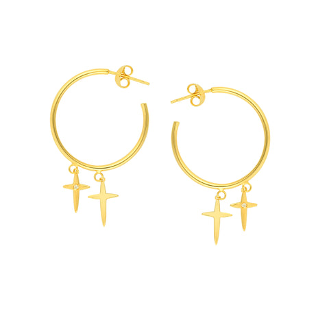 Hoop Earrings with Double Cross Dangles and Diamond Accents 14k Yellow Gold