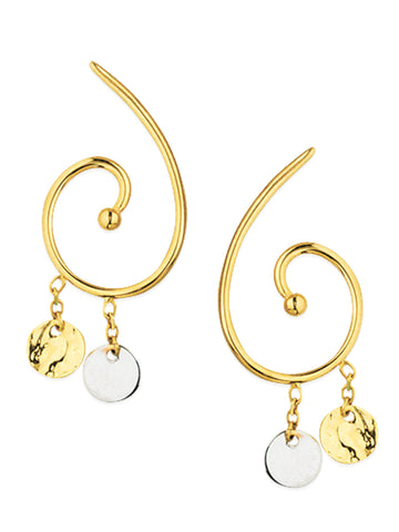 14k White and Yellow 2-tone Gold Swirl Post Earrings with Dangles