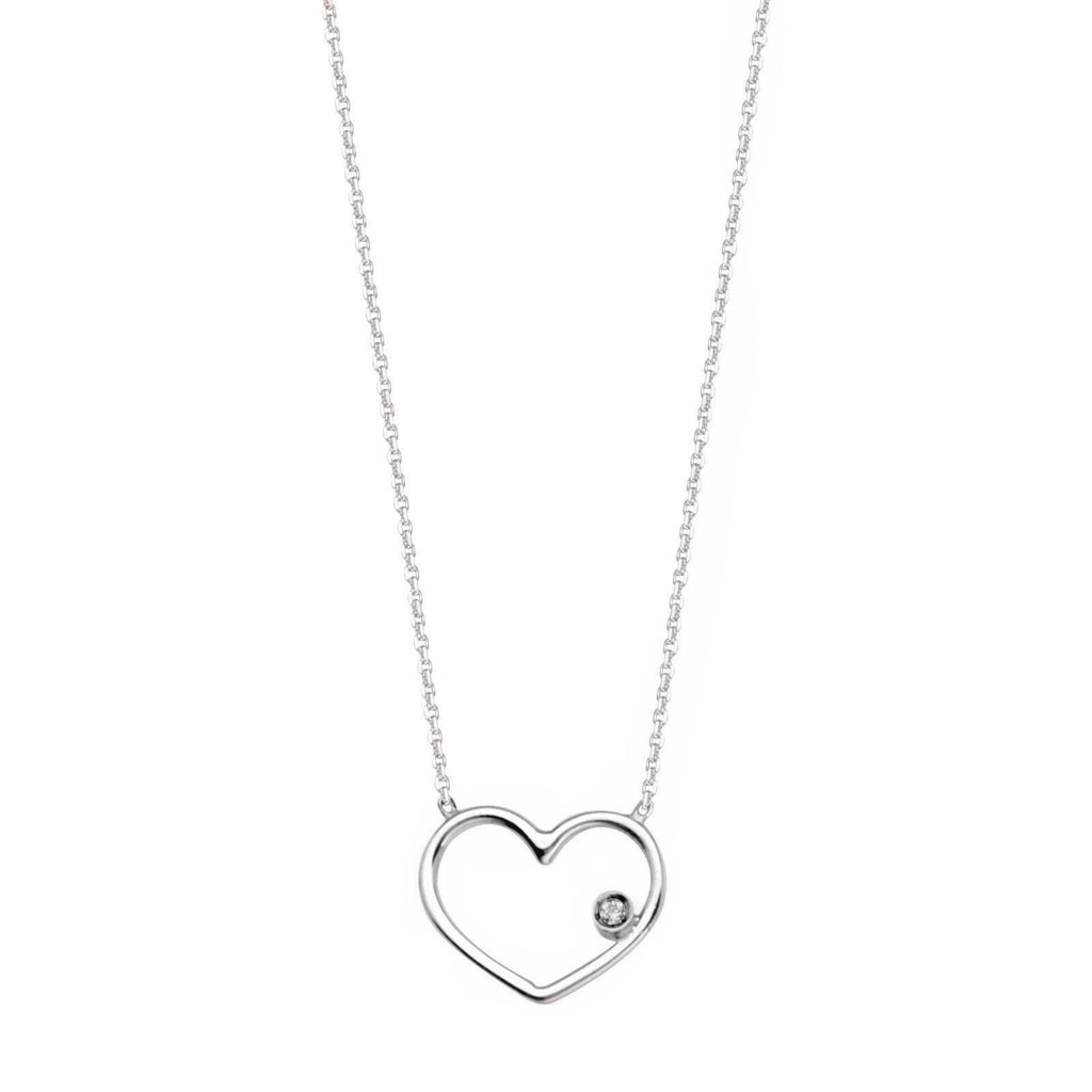 14k White Gold Open Heart Necklace with Genuine Diamond Accent Adjustable Length