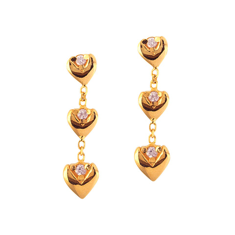 14k Yellow Gold and Genuine Diamond Triple Heart Earrings