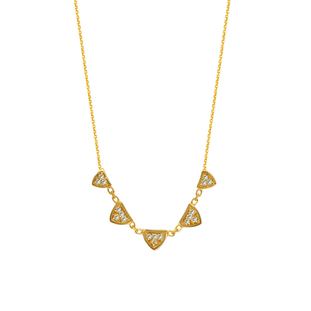 14k Yellow Gold Diamond Necklace with Triangle Links