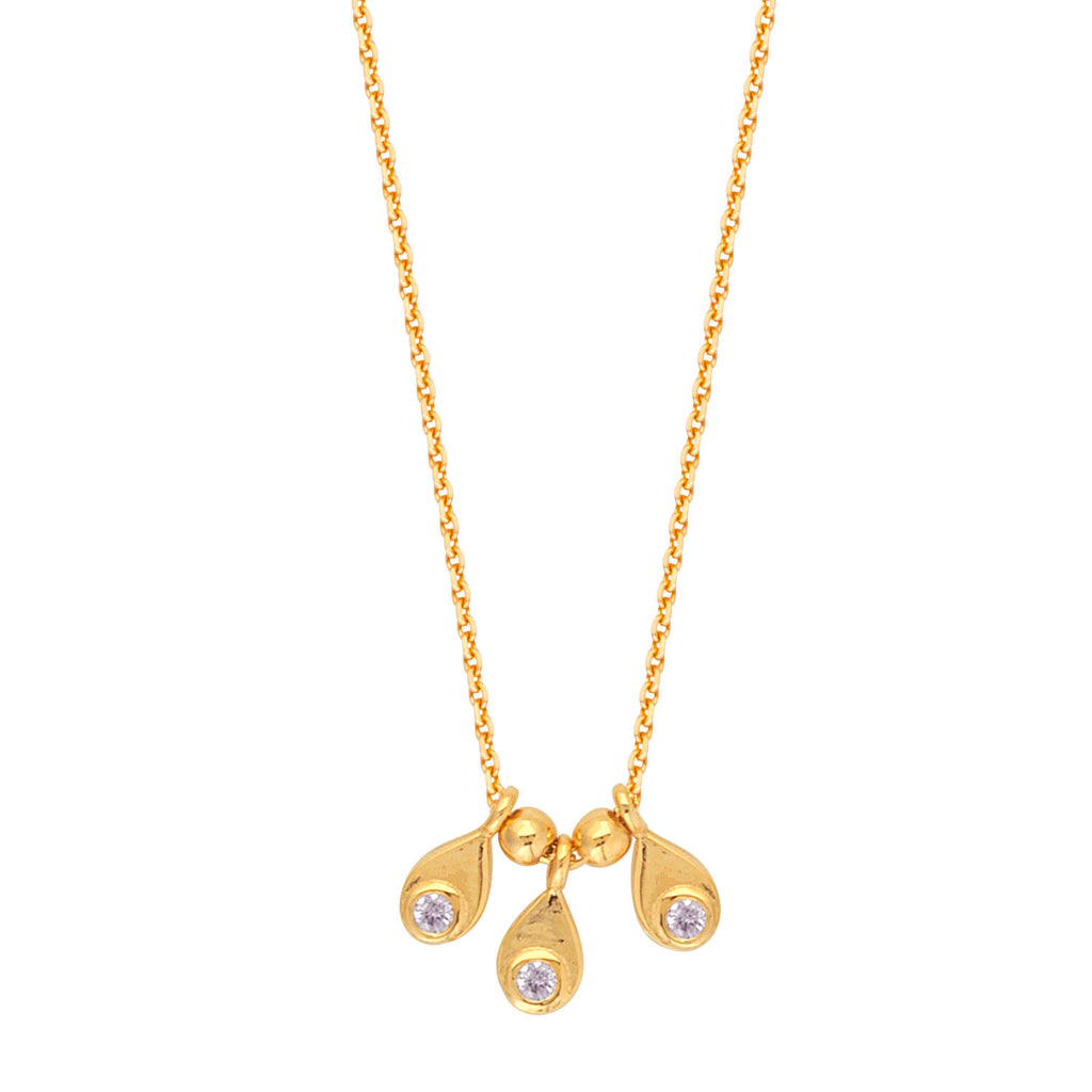 14k Yellow Gold Necklace with Three Drops and Genuine Diamonds Adjustable Length