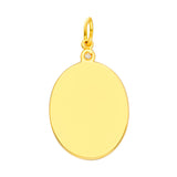 14k Yellow Gold Oval Shape Pendant Charm with Genuine Diamond Accent
