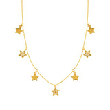 14k Yellow Gold Star Drop Necklace with Diamond Accents Adjustable Length