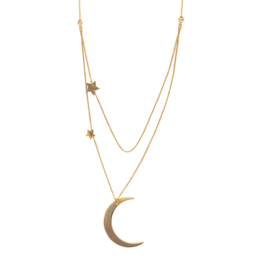 14k Yellow Gold Crescent Moon and Stars Double Layer Necklace Adjustable Length
