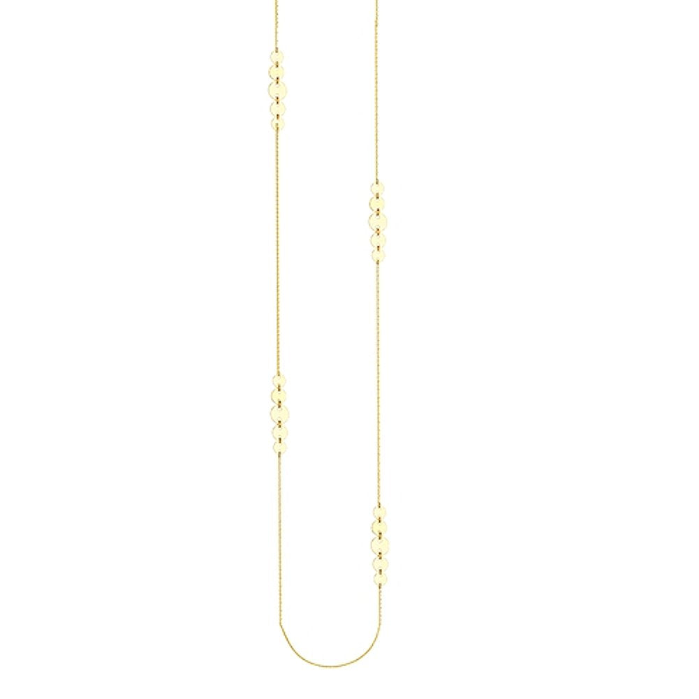 14k Yellow Gold Graduated Disk Station Necklace 36-inch Length
