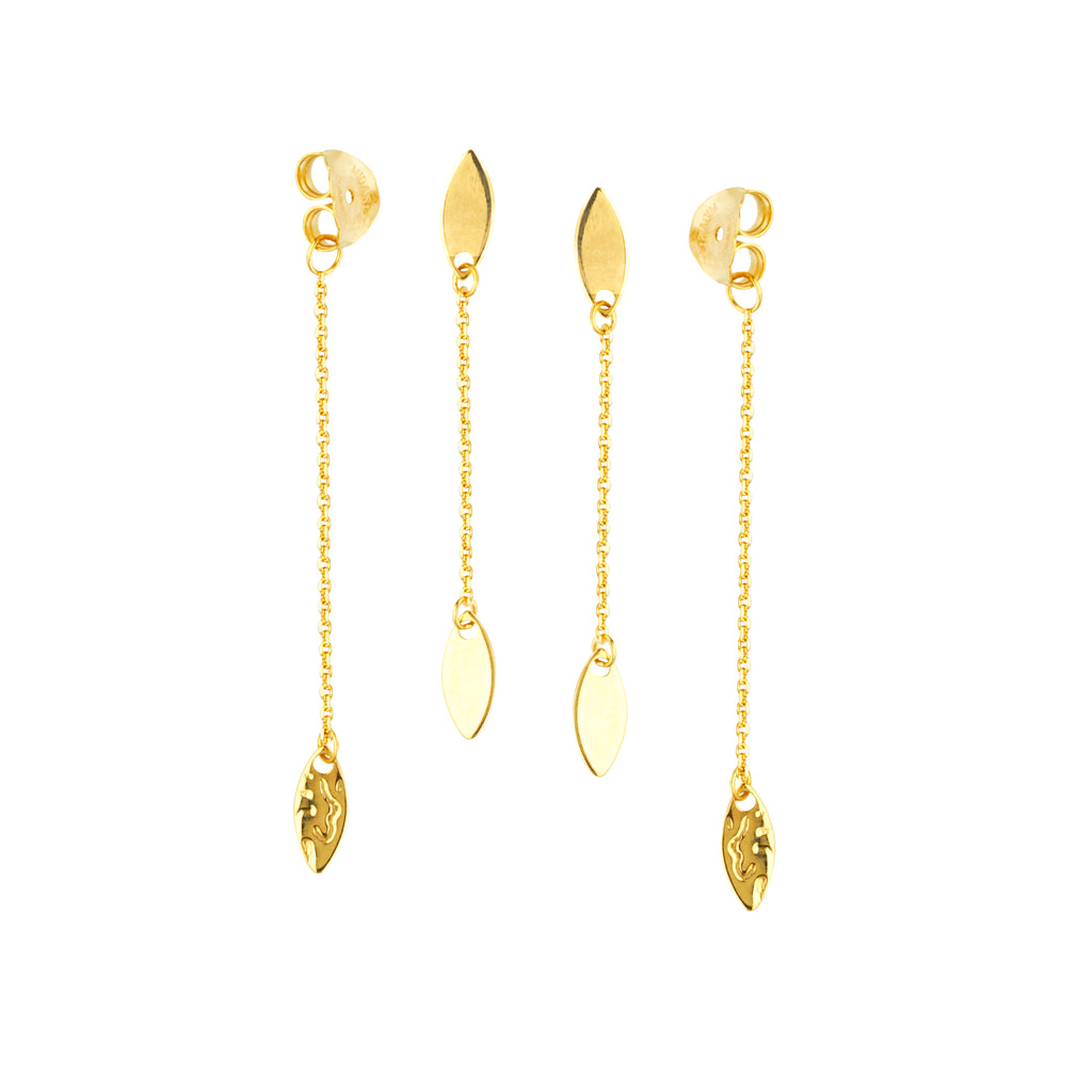 Front Back Chain Post Earrings 14k Yellow Gold Marquise Drops