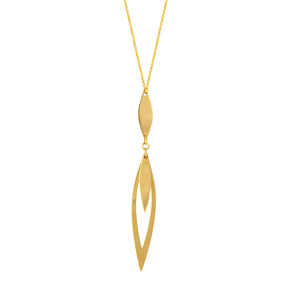 14k Yellow Gold Y Necklace with Marquise-shape Pendant Adjustable Length