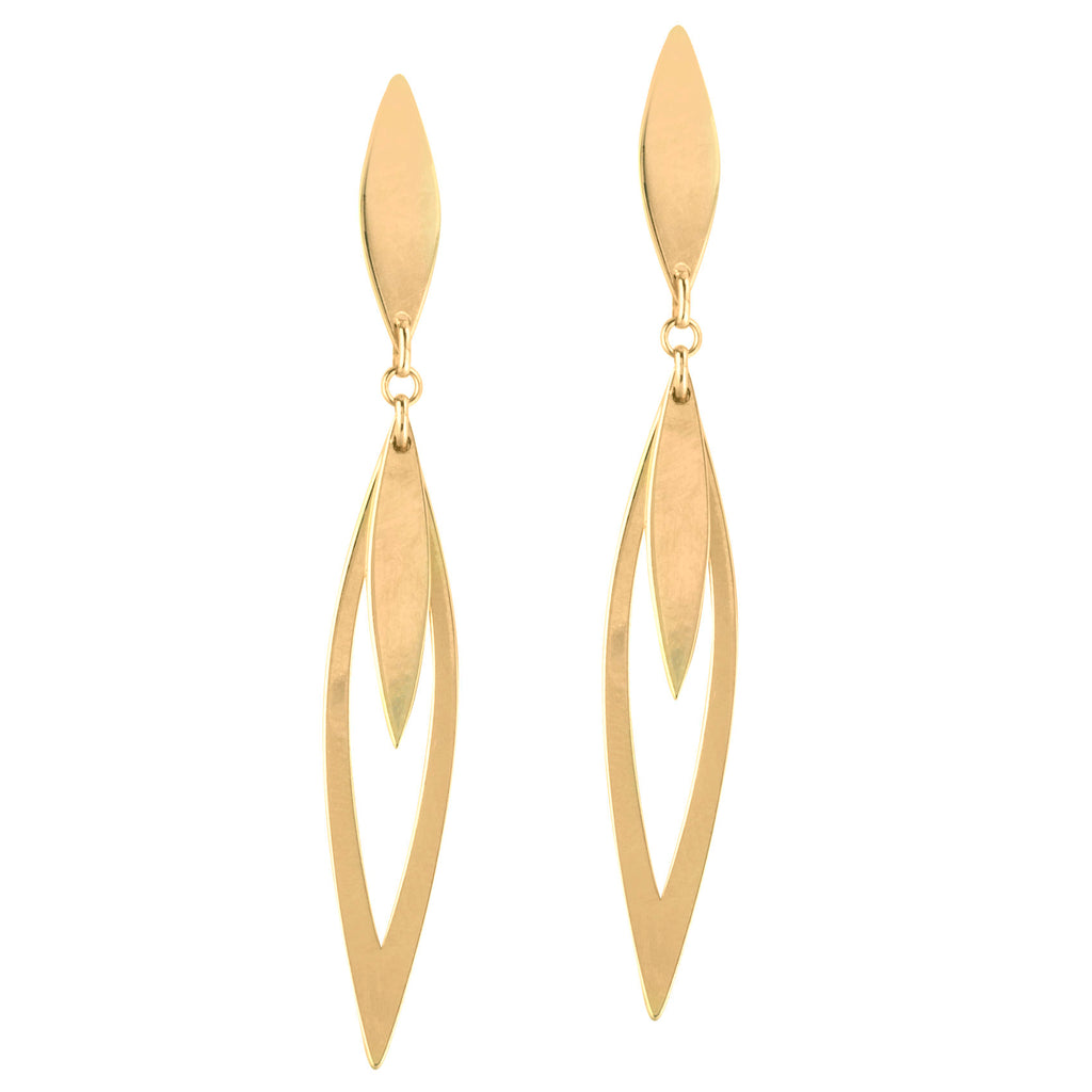 14k Yellow Gold Long Open Marquise Link Dangle Post Earrings