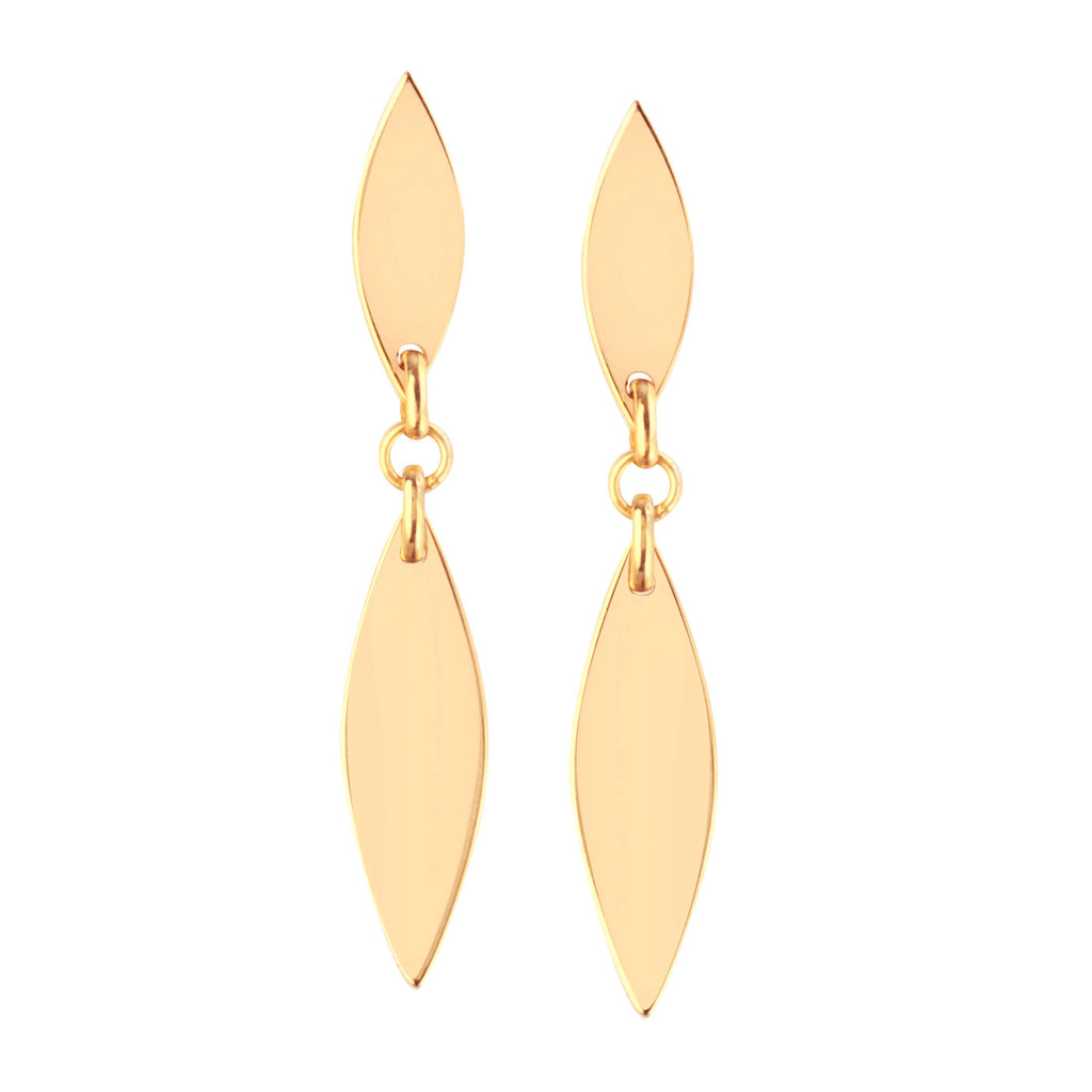 14k Yellow Gold Marquise Double Link Dangle Earrings