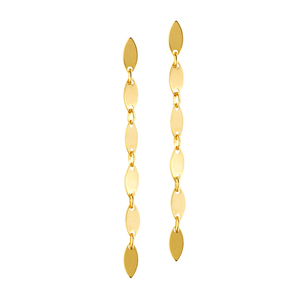 14k Yellow Gold Marquise Link Dangle Post Earrings