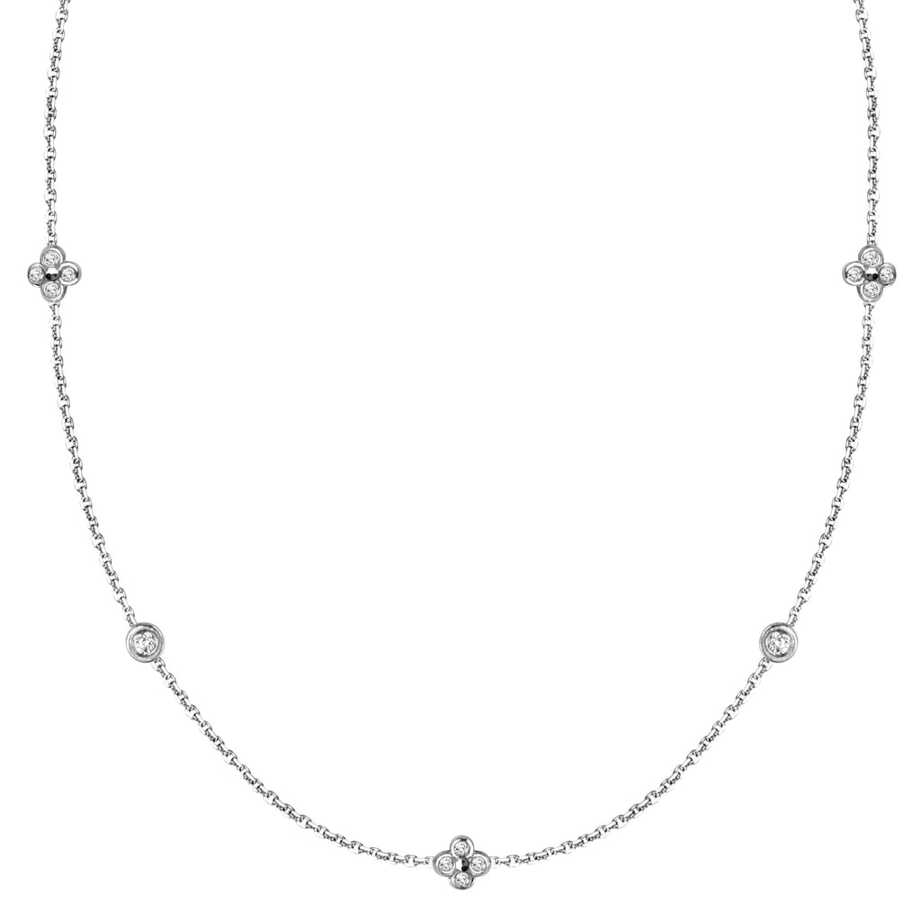 14k White Gold Diamond Accent Necklace Adjustable Length