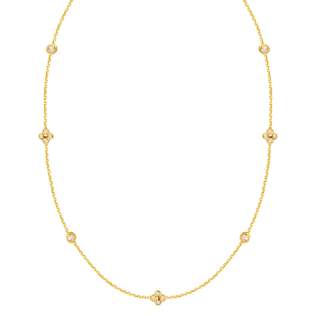 14k Yellow Gold Diamond Accent Necklace Adjustable Length