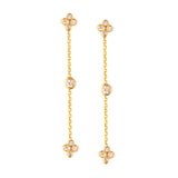 14k Yellow Gold Chain Post Drop Earrings with Genuine Diamond Accents