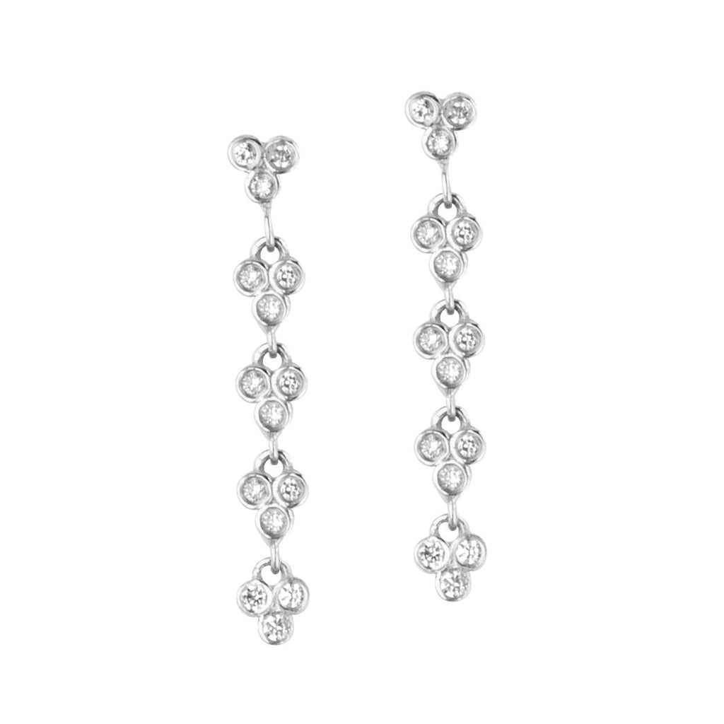 14k White Gold and Genuine Diamond Post Drop Earrings