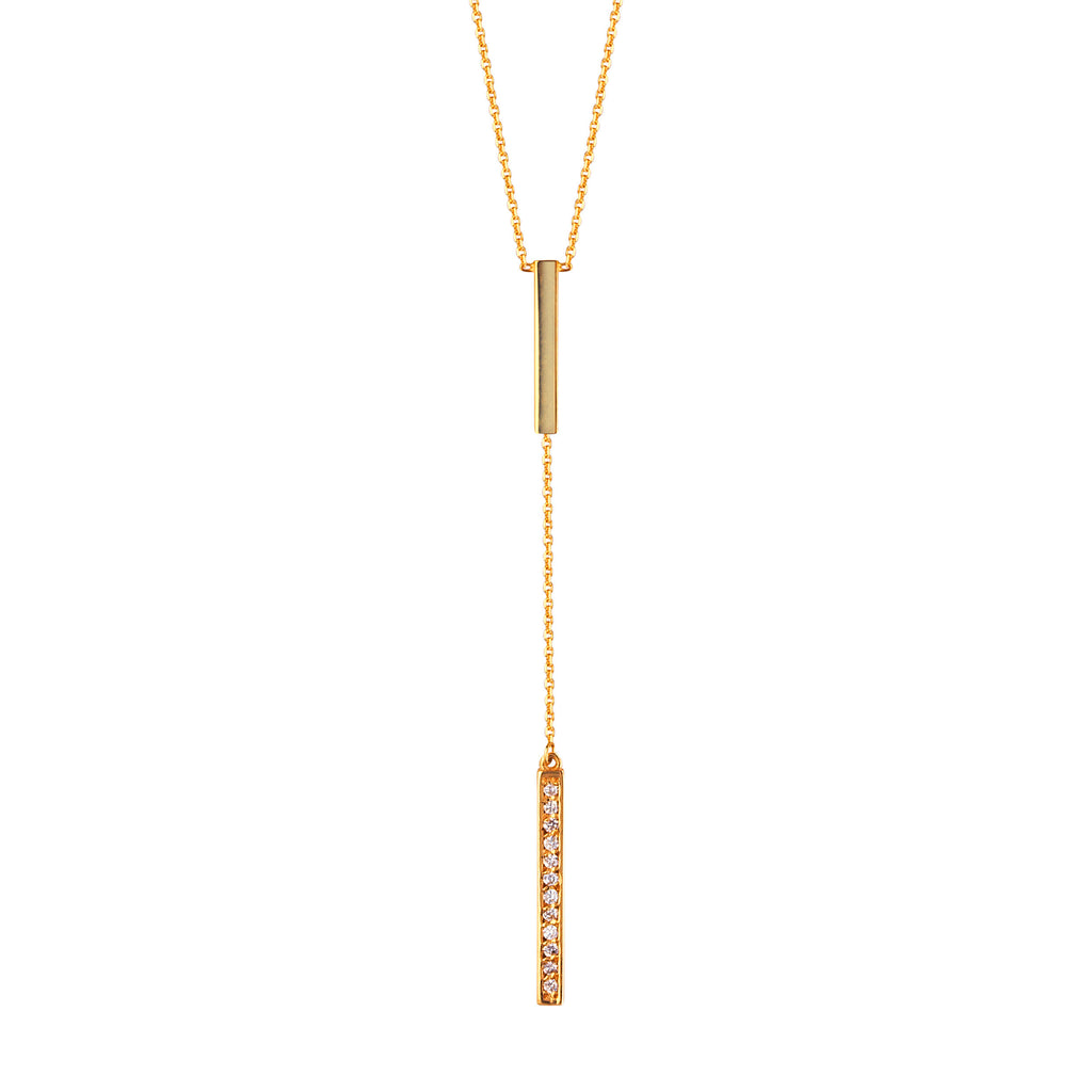 Y-style Bar Drop Necklace 14k Yellow Gold with Genuine Diamonds