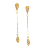 14k Yellow Gold Diamond Accented Post and Chain Drop Earrings