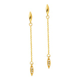 14k Yellow Gold Diamond Accented Chain and Marquise Drop Earrings