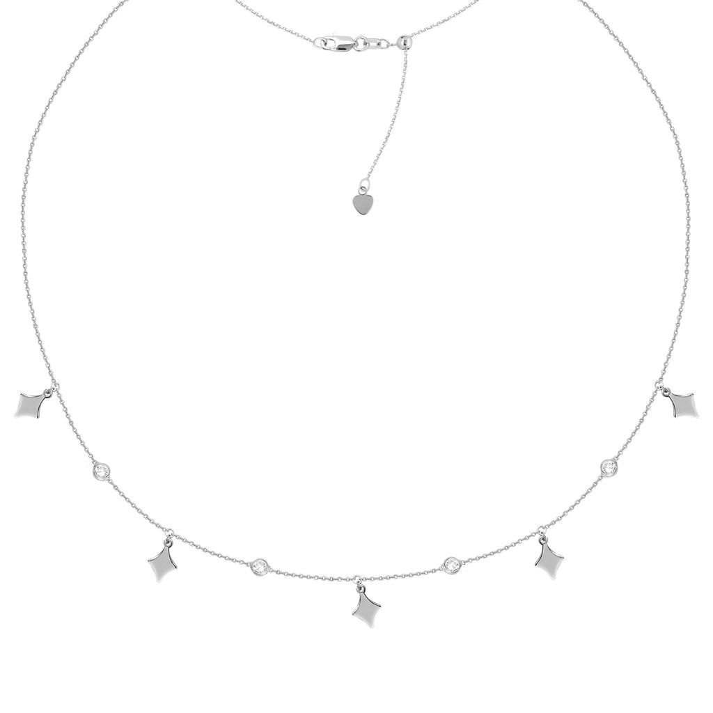 Choker Necklace with Cubic Zirconia and Diamond-Shape Drops Rhodium on Sterling Silver