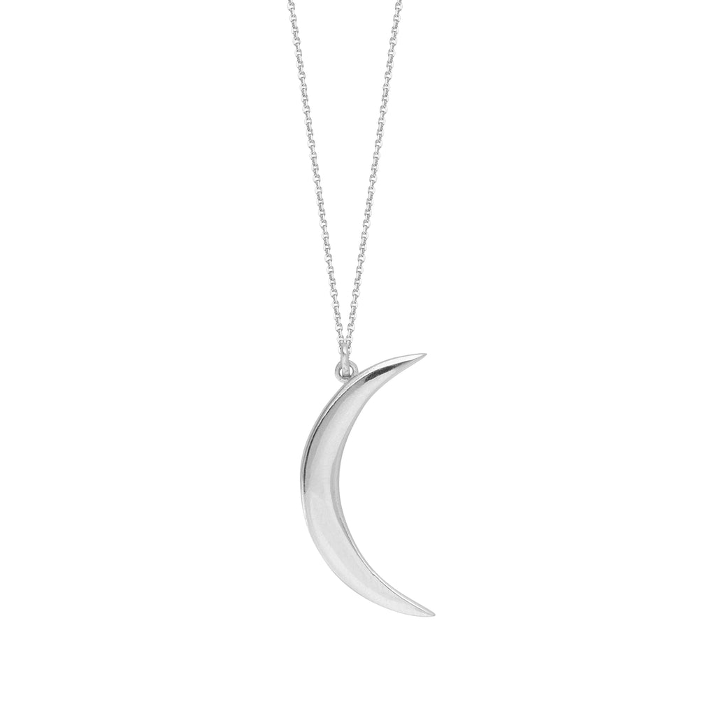 14k White Gold Crescent Moon Necklace Adjustable Length