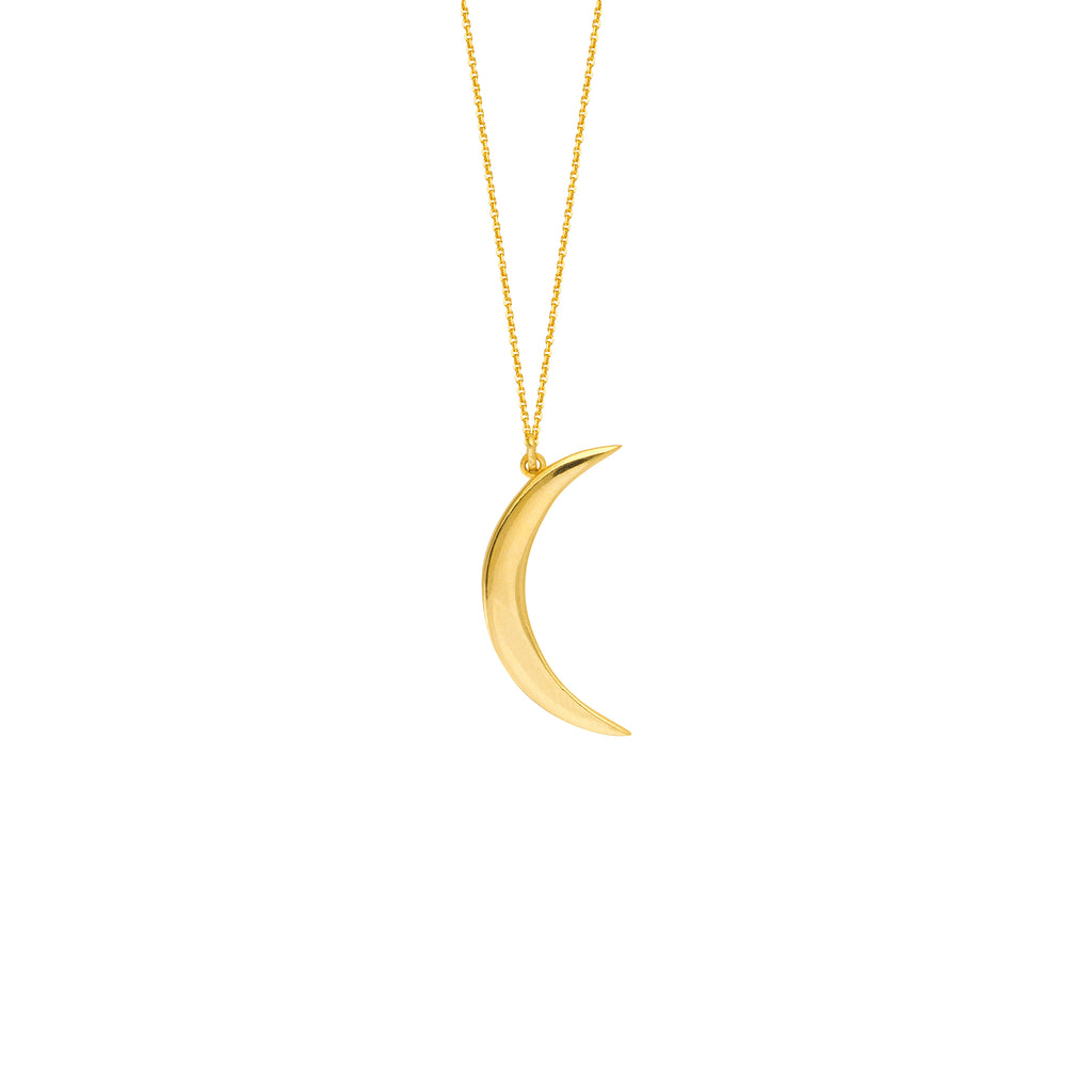 14k Yellow Gold Small Crescent Moon Necklace Adjustable Length
