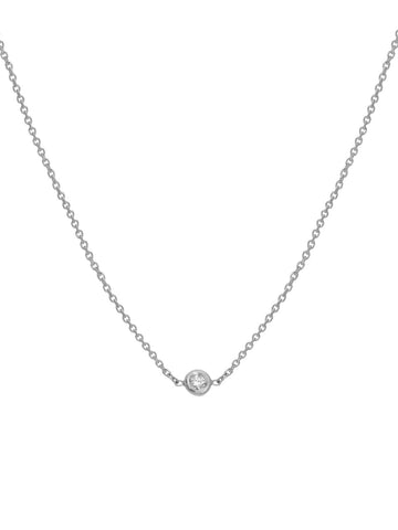 14k White Gold Choker Necklace with Genuine Diamond - Adjustable Length