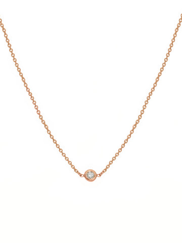 14k Rose Gold Choker Necklace with Genuine Diamond - Adjustable Length