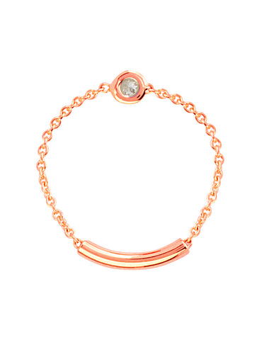 14k Rose Gold Chain and Bar Diamond Ring