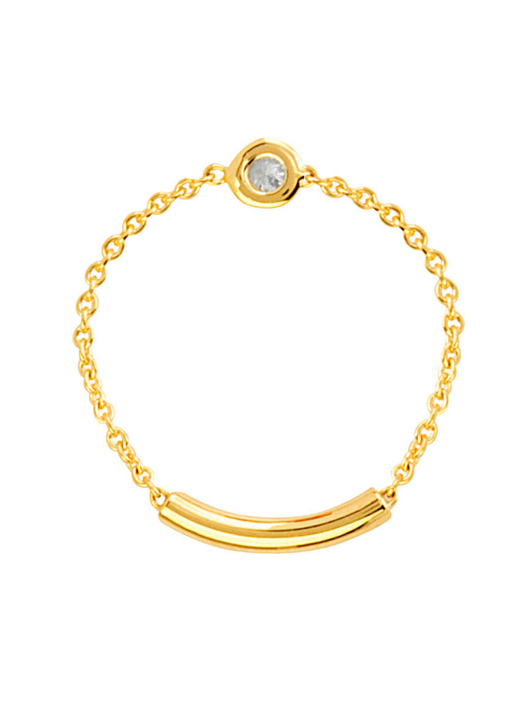 14k Yellow Gold Chain and Bar Diamond Ring