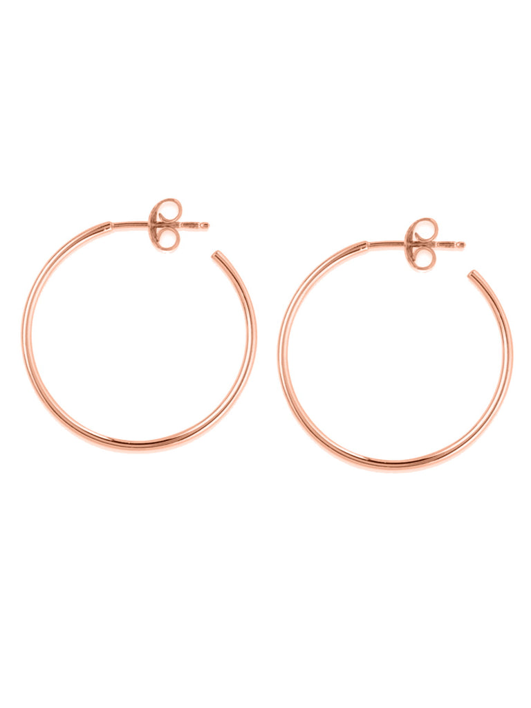 14k Rose Gold Small Hoop Earrings 25mm with Post