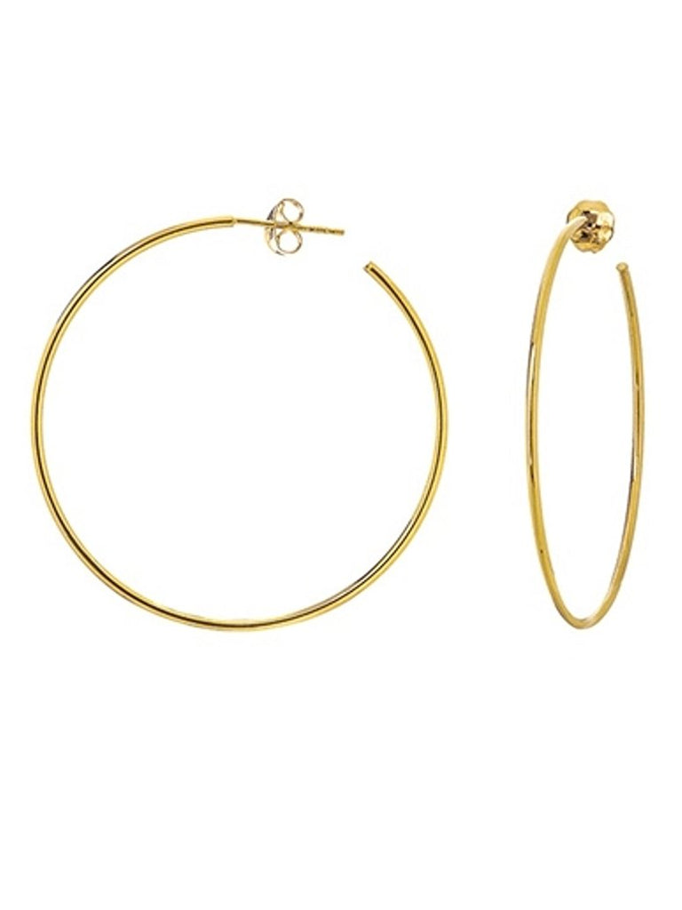 14k Yellow Gold Small Hoop Earrings 40mm with Post