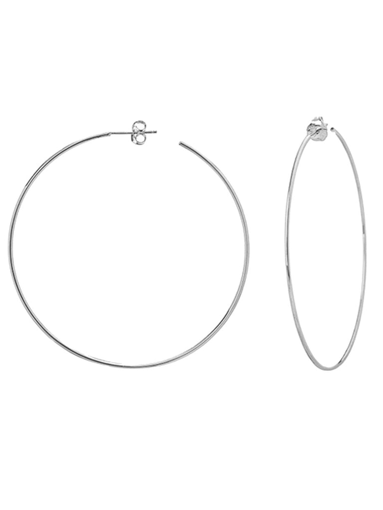14k White Gold Large Hoop Earrings 60mm with Post