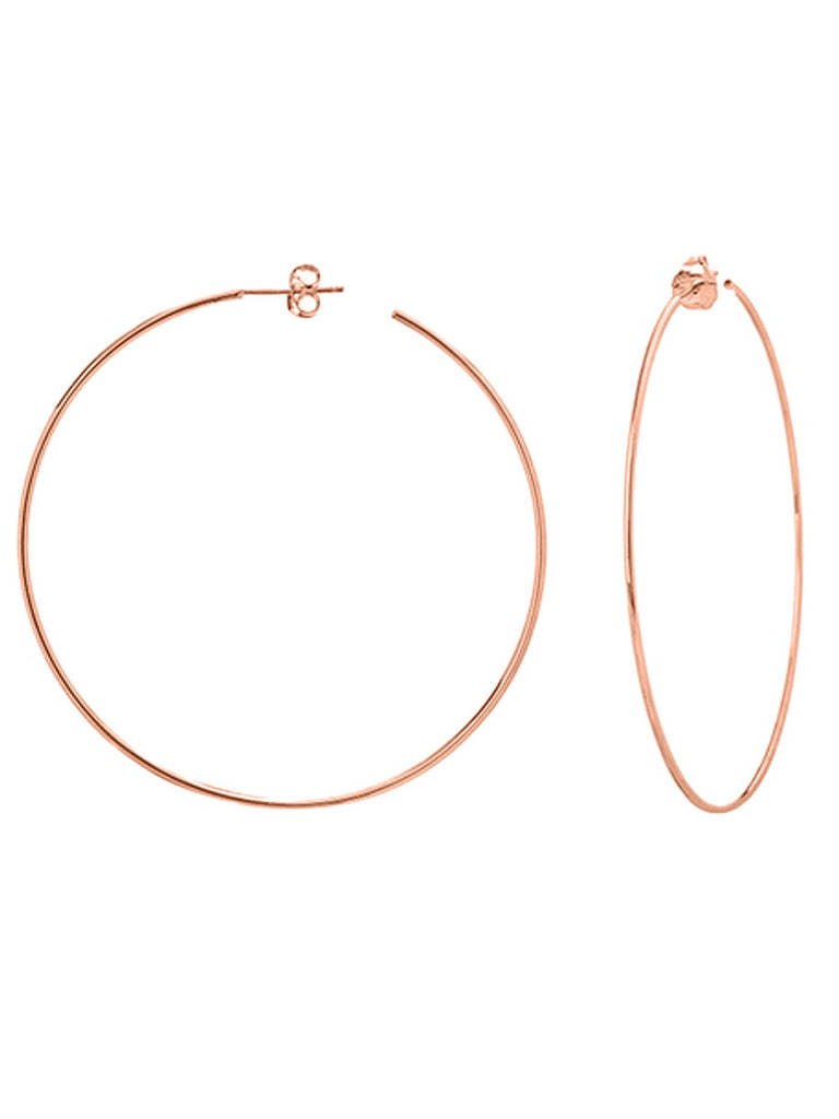 14k Rose Gold Large Hoop Earrings 60mm with Post
