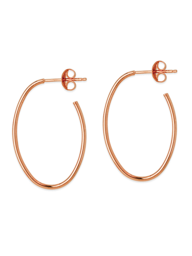 14k Rose Gold Oval Hoop Earrings 28x18mm with Post