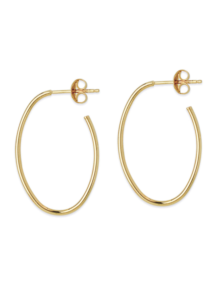 14k Yellow Gold Oval Hoop Earrings 28x18mm with Post