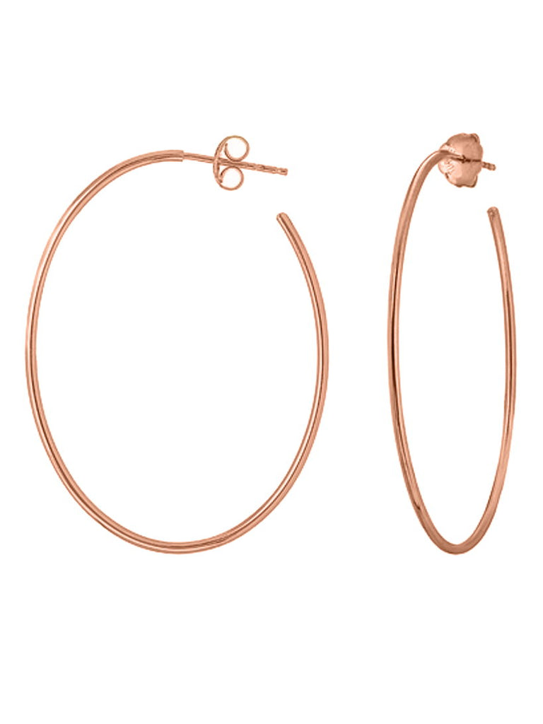 14k Rose Gold Oval Hoop Earrings 40x30mm with Post