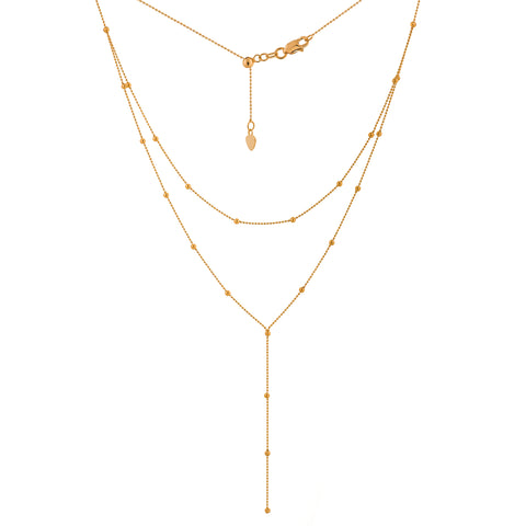 14k Rose Gold Layered Y Necklace Satellite Bead Chain Adjustable Length