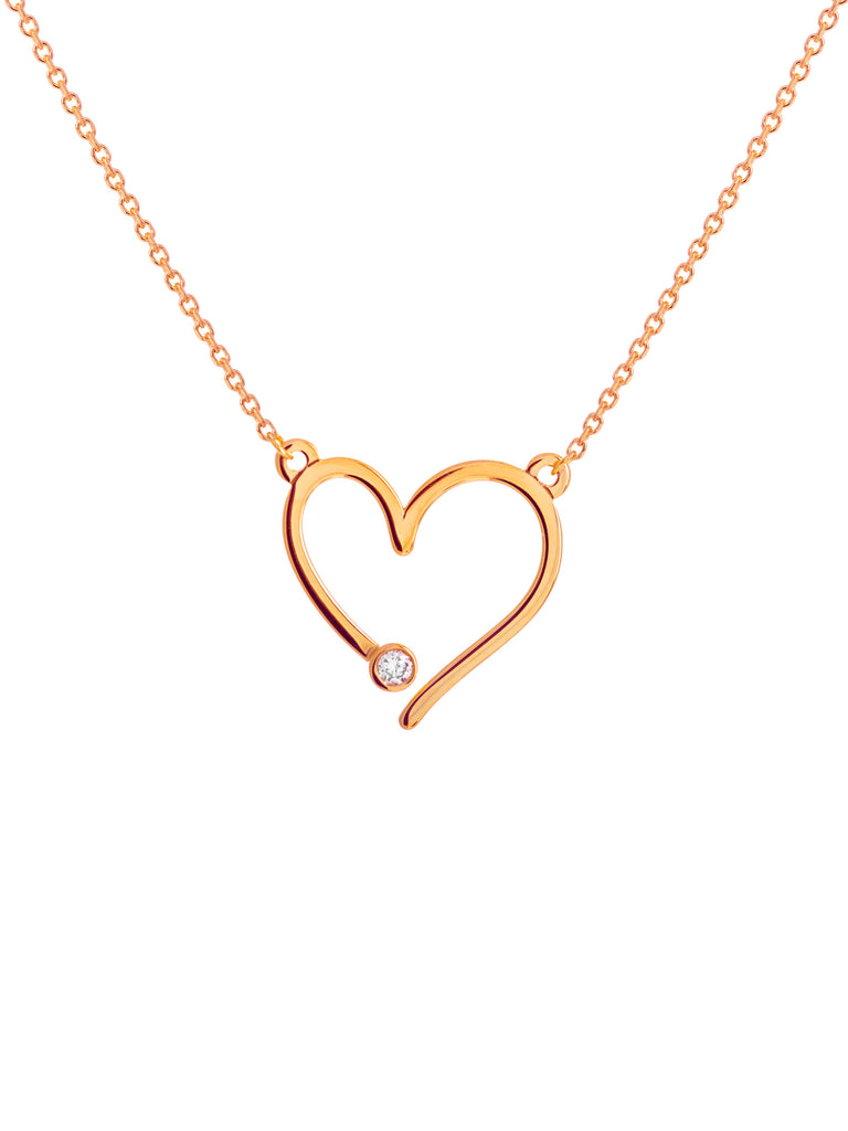 14k Yellow Gold Heart with Diamond Necklace Adjustable Length